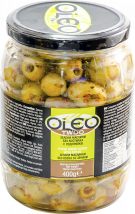 Oleo Green Pitted Olives with spices 400g